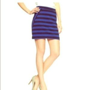 Gap Mixed A-Line Skirt Blue Stripes Exposed Zip